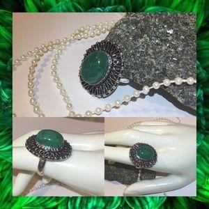 Natural Emerald Gemstone Stamped Artisan Halo Ring